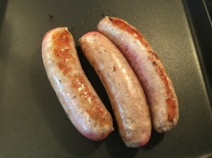 3. Cook sausage on all sides without any oil