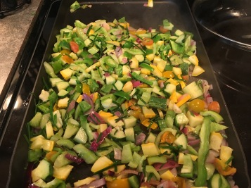 Add all the rest of vegetables. Cook them for less than 3 and half minutes. Turn off the heat.