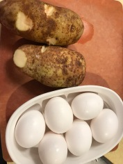 Wash and scrub the potatoes and get rid of the eyes.