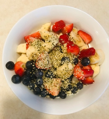 Add some hemp seeds on top after you pour in the milk.